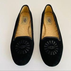 UGG sheepskin lined black suede loafers